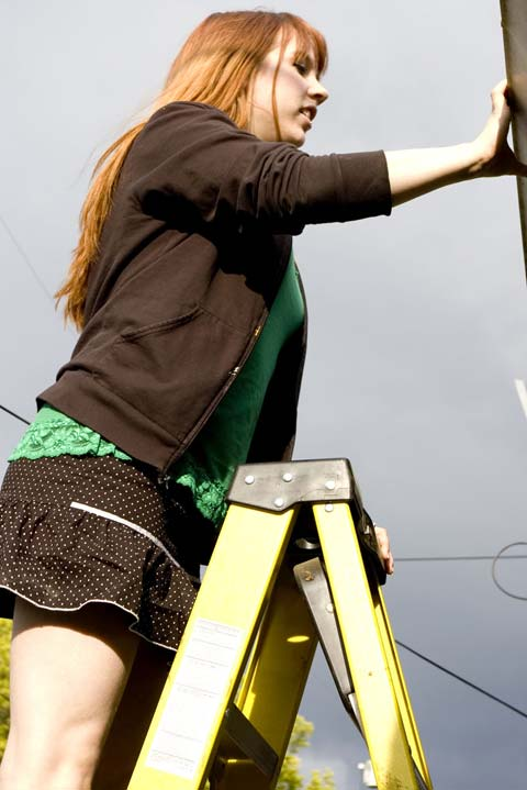 Panty Peeing Up A Ladder